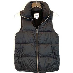 Old Navy Fleece Lined Black Puffer Vest
